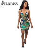 FLODISS Kobiety Złota Zielona Sequin Klub Sukienka 2018 New Sexy Głęboki Dekolt Backless Lady Luksusowe Wieczorne Party Mini Vestido