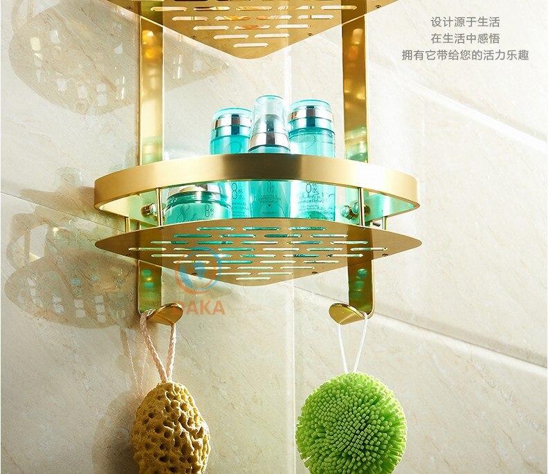 Bathroom Accessories,Fashion Gold Design Shower Shampoo&Toilet Storage Shelf/Wall Mounted Bathroom Modern Basket/Bath furniture