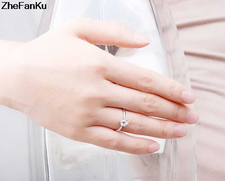 Classic Six Claw  6mm Zircon Wedding Rings for women Jewelry silver color Engagement rings female Anel Bijoux Free Shipping