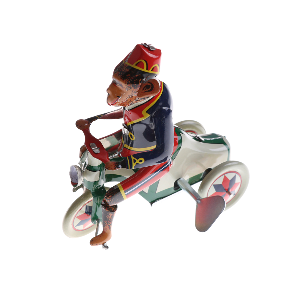 Classic Toy  Collectible Retro Zakka Home Decor Vintage Wind Up Circus Monkey Riding A Car Clockwork Tin Toy For Children