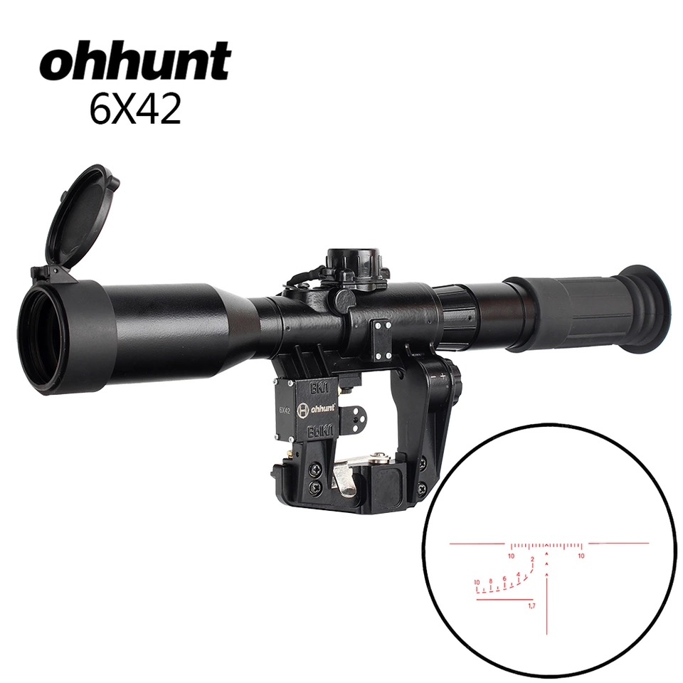 ohhunt Tactical 6X42D Sight Red Illuminated SVD AK Rifle Scope POS 1 Glass Etched Reticle Hunting