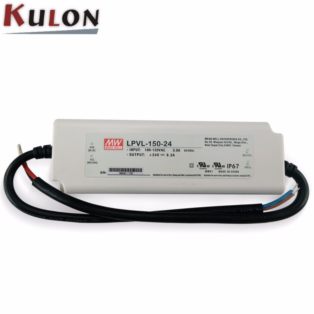 Original Meanwell 150W 24V Power Supply LPVL-150-24 for LED light IP67 UL FCC EMC 2 years warranty meanwell waterproof switch power lplc 18 700 2 years warranty original