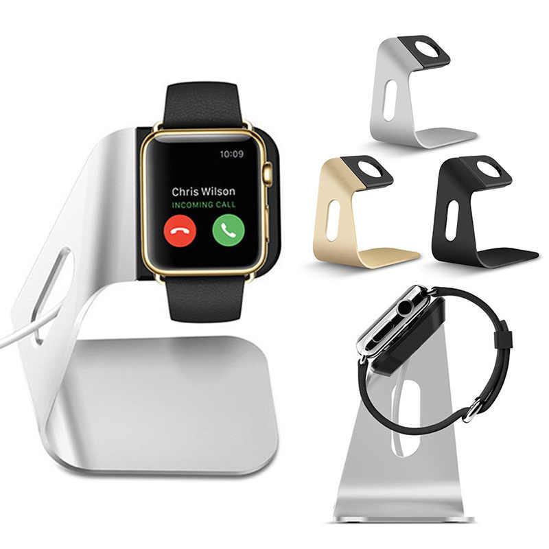 Logam Aluminium Charger Stand Pemegang untuk Apple Watch Bracket Pengisian Cradle Berdiri untuk Apple IWatch 4 3 2 1 charger Dock Station