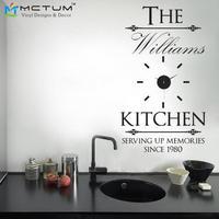 מותאם אישית אישית שם משפחת מדבקות DIY מדבקת שעון קיר עיצוב מודרני אקריליק & ויניל באופן יצירתי המטבח דקור