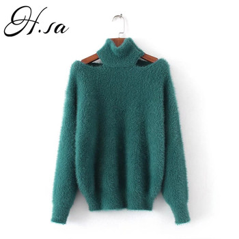 HSA 2018 Autumn Winter Fashion Sweaters Korean Fashion Sexy Pullovers Mohair Jumpers Halter Loose Tops 2018 Sexy Fur Sweater