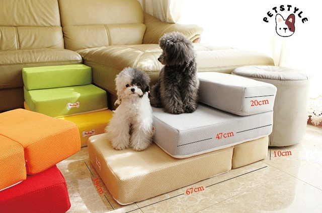 Cute Pet Ramp Stairs For Small Dog Pet Dog Mat Mattress Mesh Breathable  Fabric Pet Steps