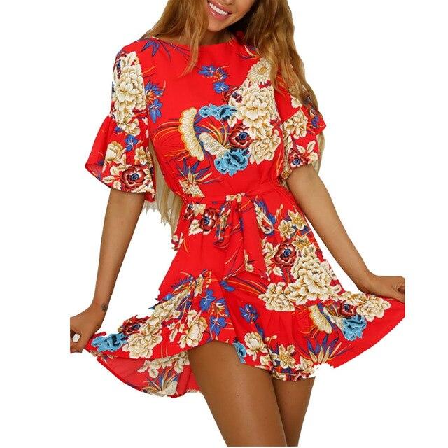 2018 Summer Women Floral Mini Dress Boho Ruffles Sleeve Short Dress wITH  Belt Party Beach Dresses Vestidos de fiesta Red Black 85cc17a8c