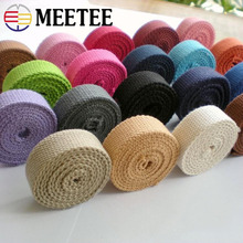 Meetee 8yards 20mm Width 2mm Thick Multicolor Canvas Cotton Webbing Textile Accessories Plain Weave DIY Bag Strap Material