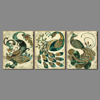 Retro Classic Living Room Decoration Animal Totem Dragon Peacock Bird Canvas Painting Printed Wall Hanging Home
