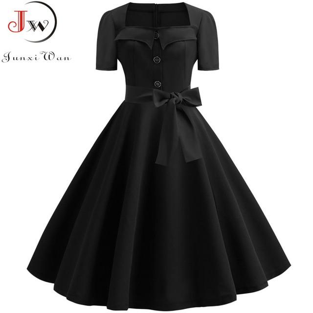 Women Summer Dress Elegant Retro Vintage 50s 60s Robe Rockabilly Swing Pinup Dresses Casual Plus Size Red Party Vestidos 3
