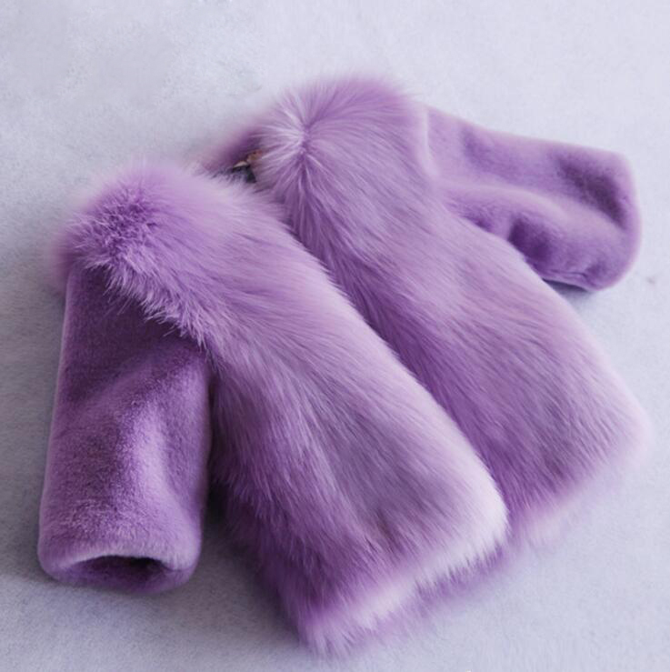 Long Sleeve Fake Fur Jacket For Girls Stitching Thicken Winter Boys Coats Solid Color Childrens Outerwear Manteau Fille HiverLong Sleeve Fake Fur Jacket For Girls Stitching Thicken Winter Boys Coats Solid Color Childrens Outerwear Manteau Fille Hiver