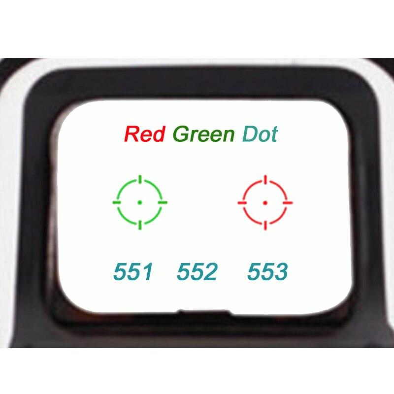 preto 551 552 553 vermelho verde ponto holografico caca mira reflexo riflescope com 20mm de montagem
