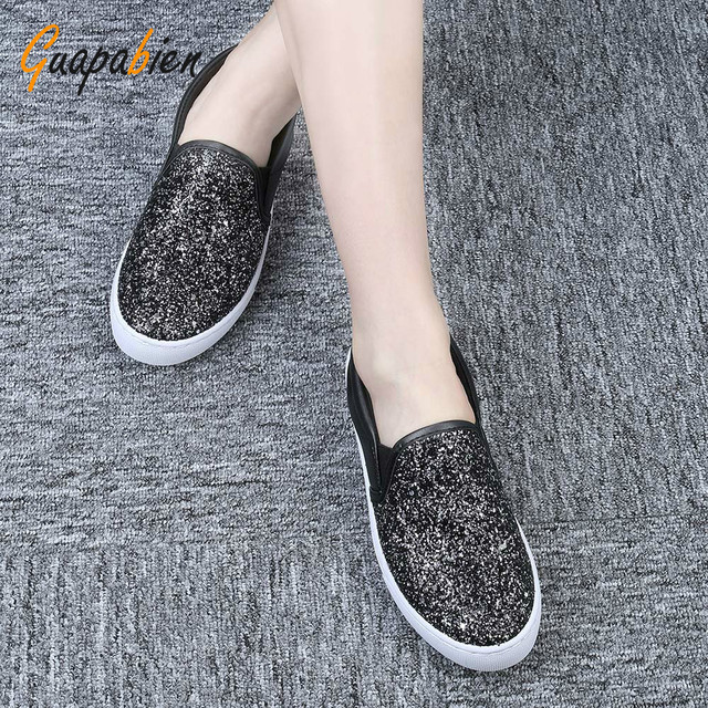 Guapabien Silver Casual Fashion Bling Glitter Women Shoes Slip On Flats Platform Loafers  Ladies Creepers Hot Shoes Woman Size
