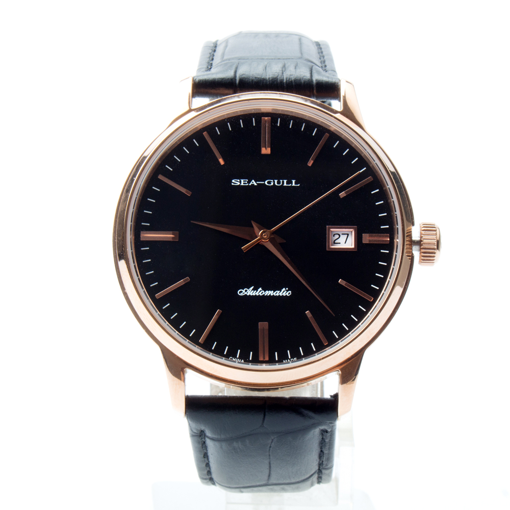 Seagull Genuine Leather Band Gold Tone Black Dial 3 Hands Automatic Men's Watch Sea-gull D519.101