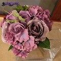 Урожай кофе шелк брошь гортензия свадебный бросок букет fleurs poignet блан шелк рамо boda