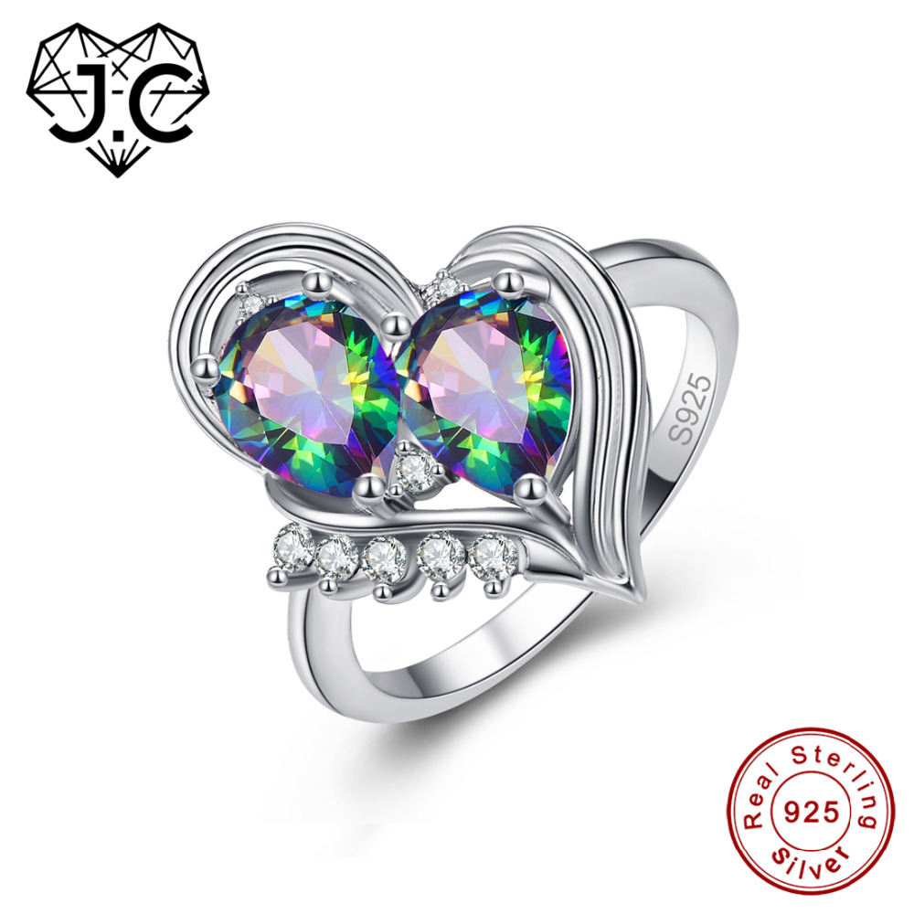 J.C Charm Water Drop Rainbow Topaz & Tanzanite 925 Sterling Silver Ring Size 6 7 8 9 Attractive Women Anniversary Fine Jewelry