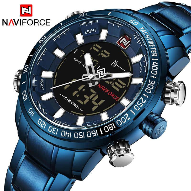 9147cc8c58d6 NAVIFORCE nuevo de lujo de los hombres Chrono deporte marca impermeable  militar EL fondo Digital muñeca
