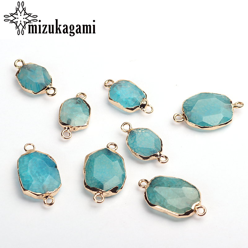 Natural Stone Charms Pendant Blue Geometry Shape Stone Double Hole Connector Charms Beads For DIY Pendant Jewelry Accessories