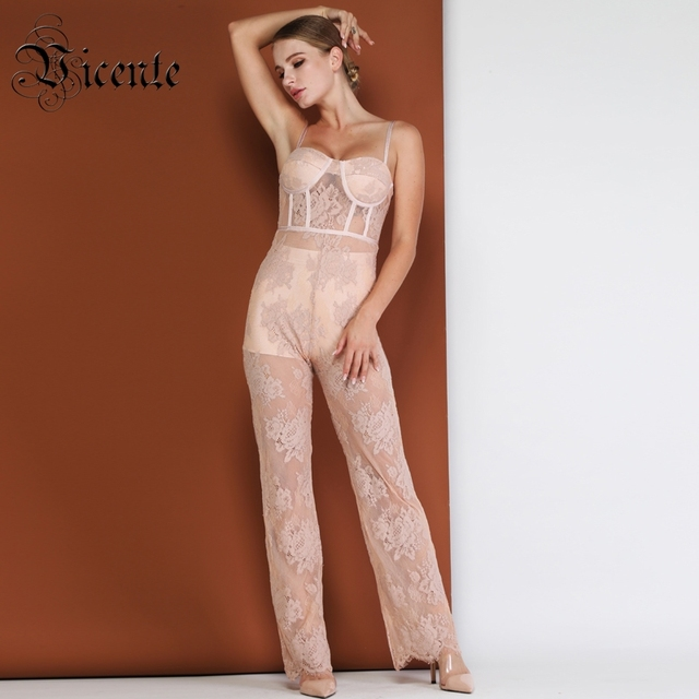 a3f3cebc4ac Vicente HOT Chic Lace Jumpsuit Sexy Sleeveless Backless V-neck Two Pieces  Wholesale Celebrity Party Club Bandage Jumpusit
