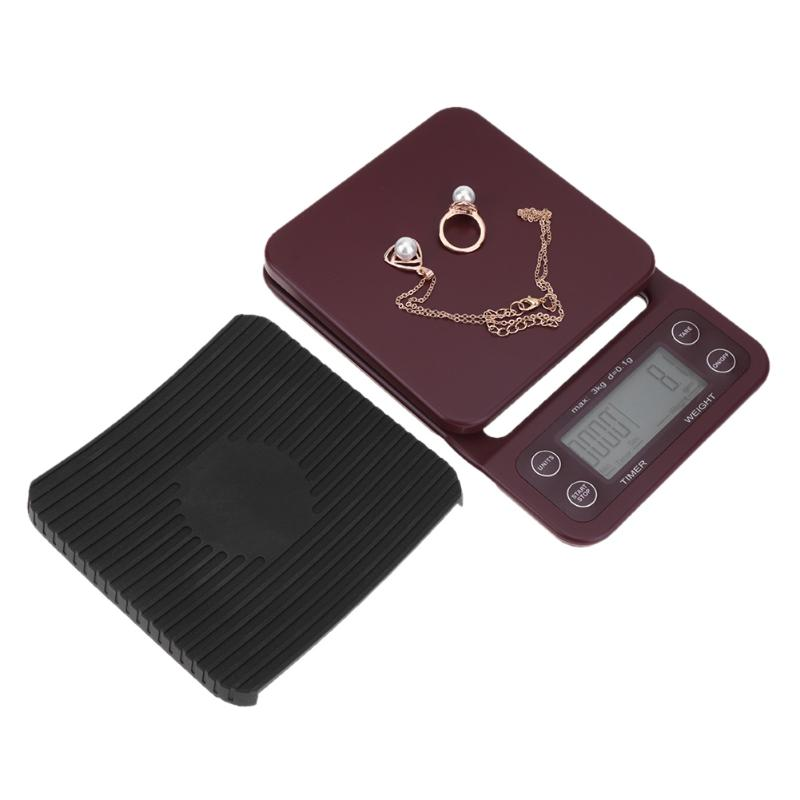 3kg x 0.1g Mini LCD Digital Electronic Drip Coffee Scale with Timer 0.1g Digital coffee weight Household Drip Scale Timer terazi 1 5 lcd digital electronic scale 2 x aaa