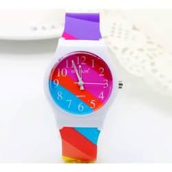 2019 Уиллис обувь для девочек студентов мода кварцевые часы в полоску контрастного цвета из мягкой искусственной водонепроница