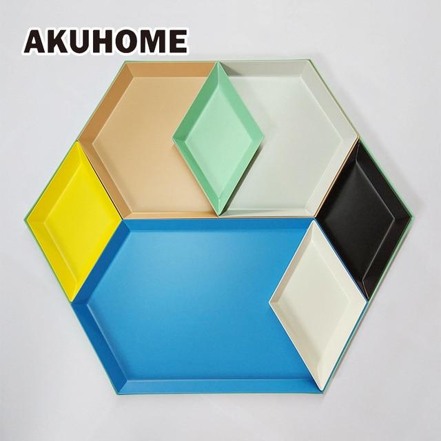AKUHOME Scandinavian Stainless Steel Plate Geometric Series Diamond Shaped Combo Tray Creative Metal Breakfast Dish