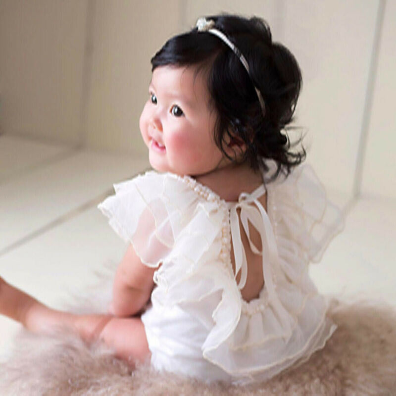 0 18M Newborn Infant Baby Girl Rompers Pearl Lace Ruffle Jumpsuit Withe Playsuit Birthday Party Baby Girls Costuems Princess in Rompers from Mother Kids