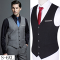 2016 Men Slim Suit Vests Male Single Breasted V-neck Business Casual Vest Men Party Wedding Waistcoat Plus Size S-6XL W735