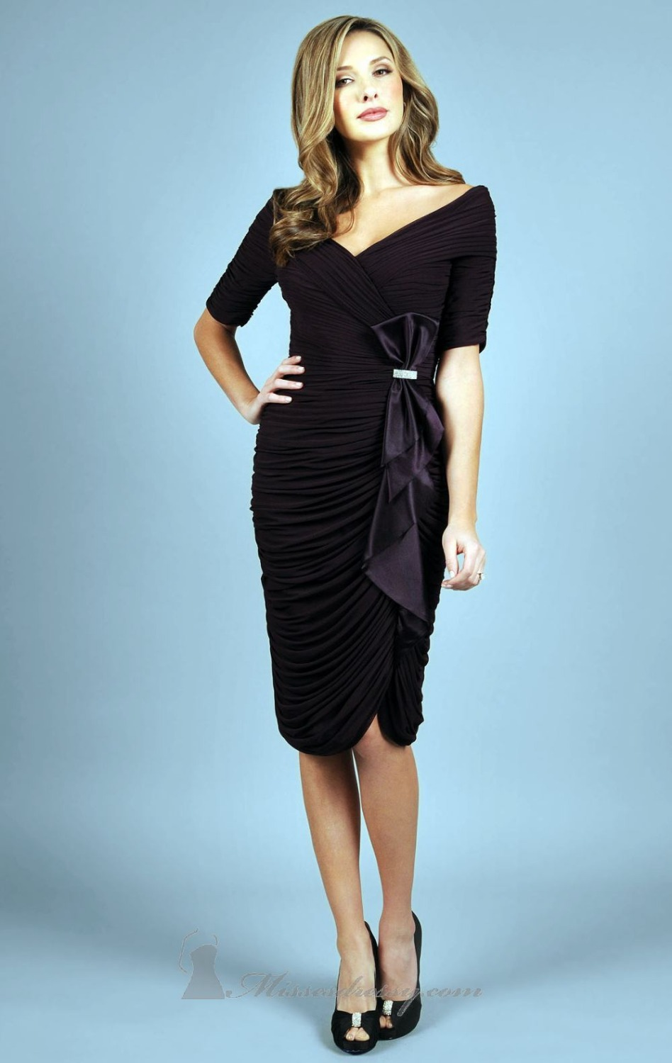 Black &White Knee length Mother of the Bride Dresses with Sleeve ...