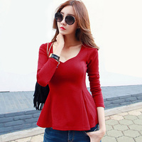 2017 Spring Sexy V Neck Long Sleeves Knitted T Shirt Women Tops Red Solid Color Slim