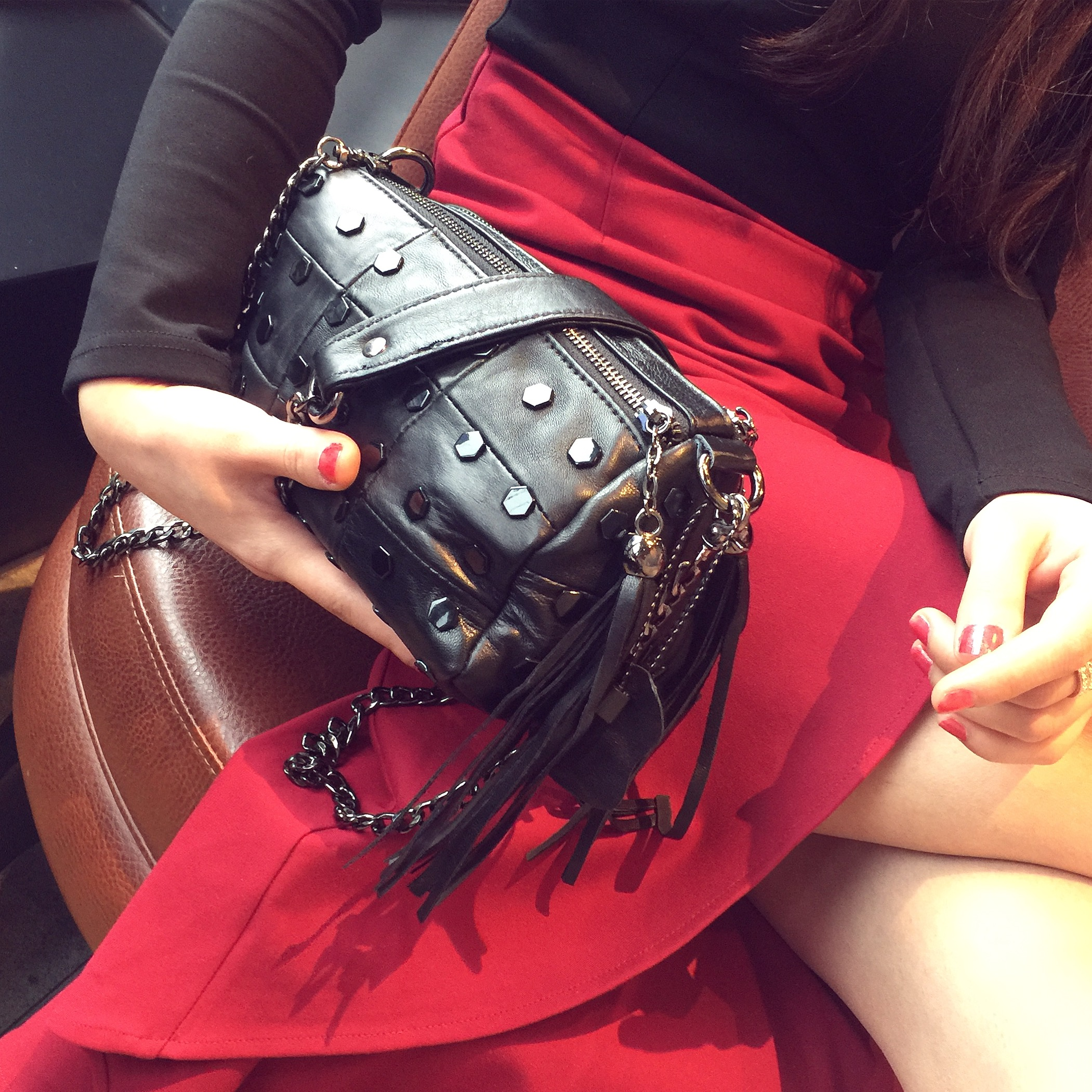 2018 new sheepskin leather fringed bag handbag shoulder bag bag bag Mini chain rivet bag bag