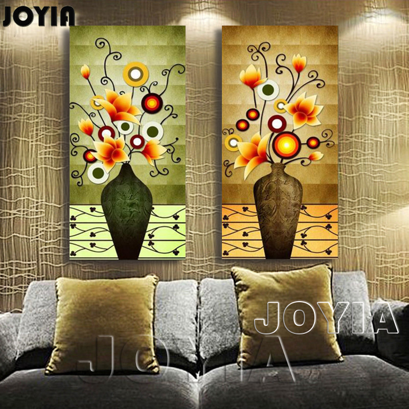 2 piece flower vase retro vintage wall pictures magnolia painting canvas prints abstract large paintings for home decor no frame in painting calligraphy