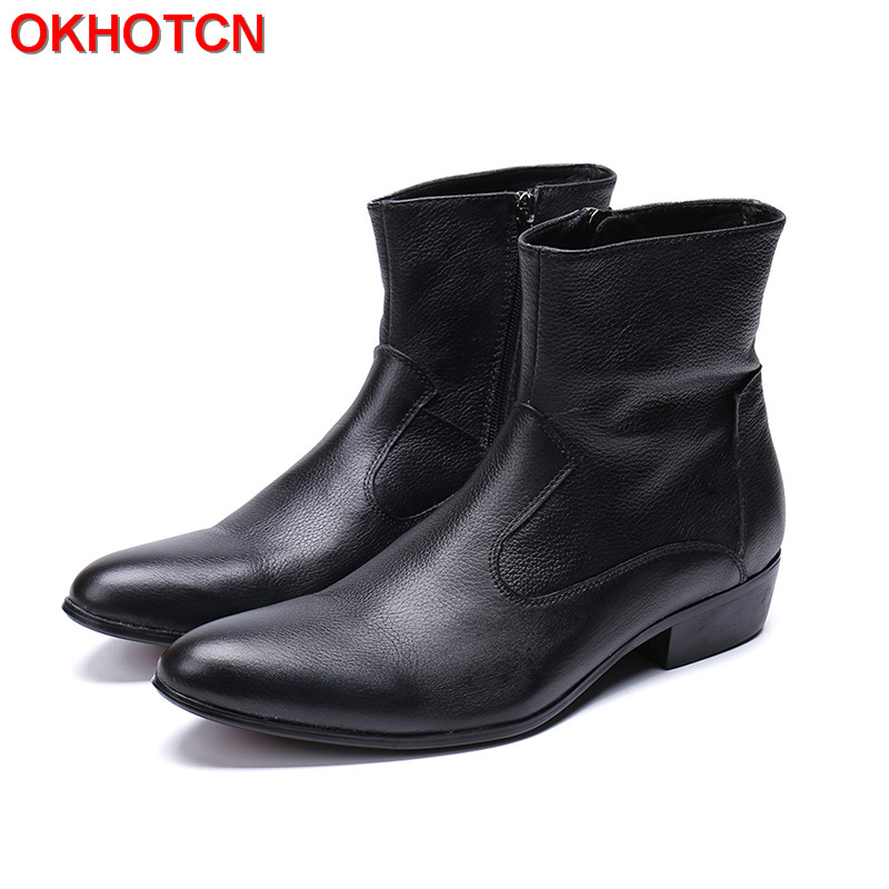 Generous Vintage Man Boots Plus Size 47 Simple Rome Mens Black Boots Genuine Cow Leather Winter Snow Boots Men Solid Ankle Boots free shipping 2017 winter warm dhl brand clothing vintage jackets mens genuine pakistan cow leather biker jacket plus size