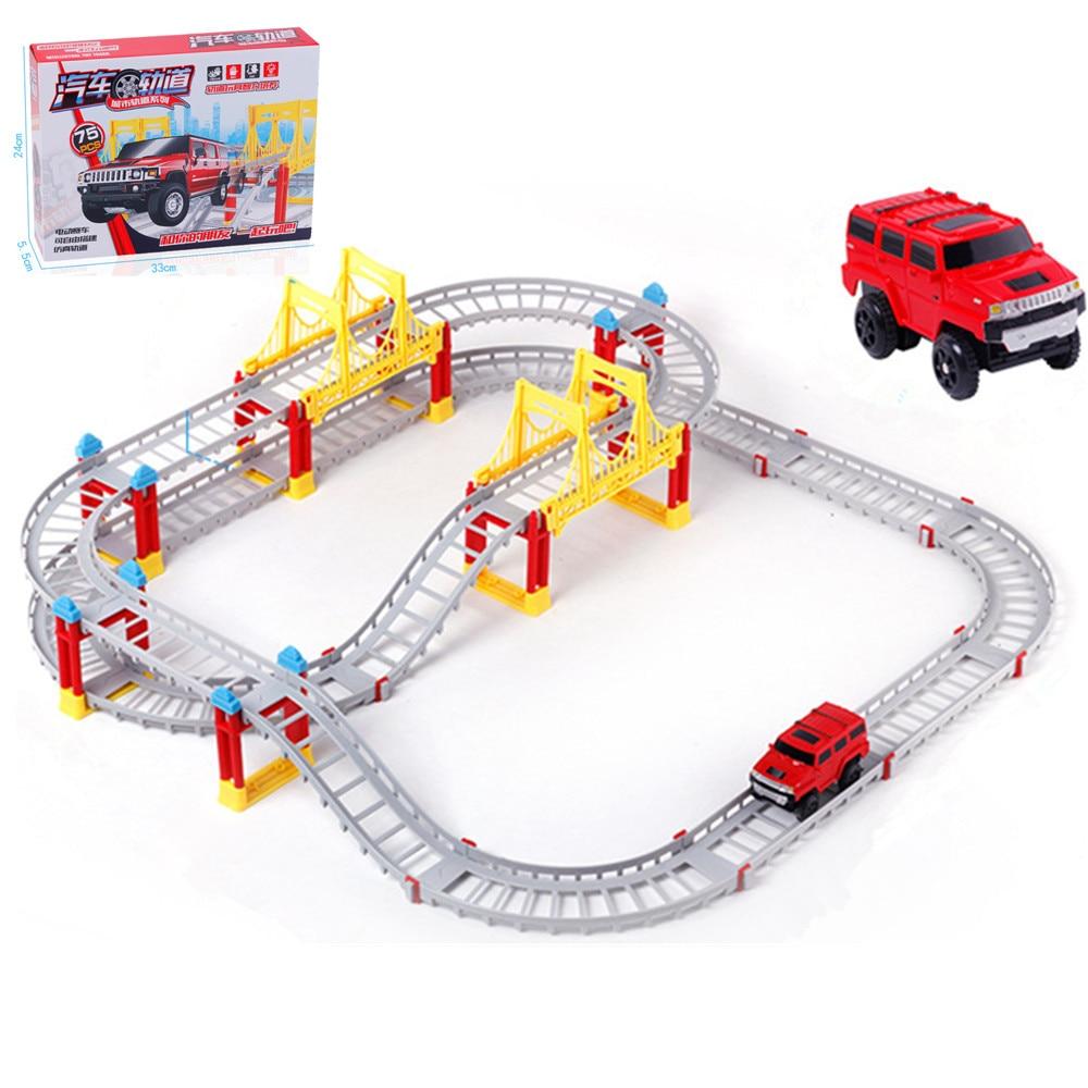 Children toys electric Thomas rail car kid train track model slot toy baby racing car three orbit car birthday gift-