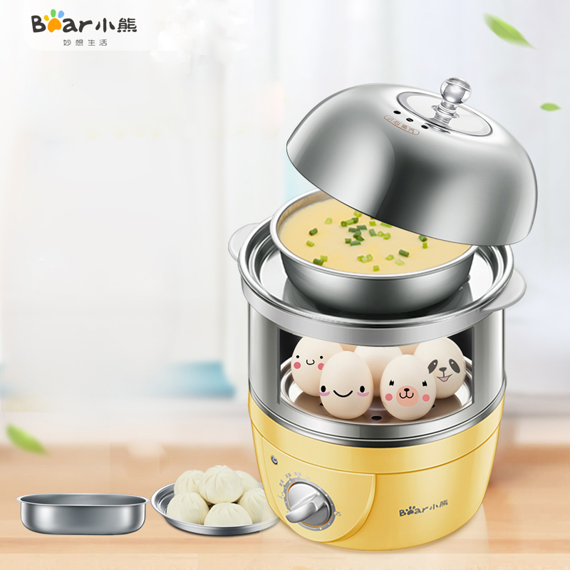 Bear ZDQ-2153 Double Layer Egg Boiler Timing Home Multifunction Steamer Egg Spoon Machine Automatic Power Off bear multi egg boiler double layer timing automatic power off of large capacity mini steamer egg custard multi cooker