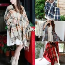 4 Colors Autumn Winter Classic Plaid Scarves Women Tartan Check Cashmere Wool Pashmina Scarf Wrap Shawl Red/Gray/Navy/Camel