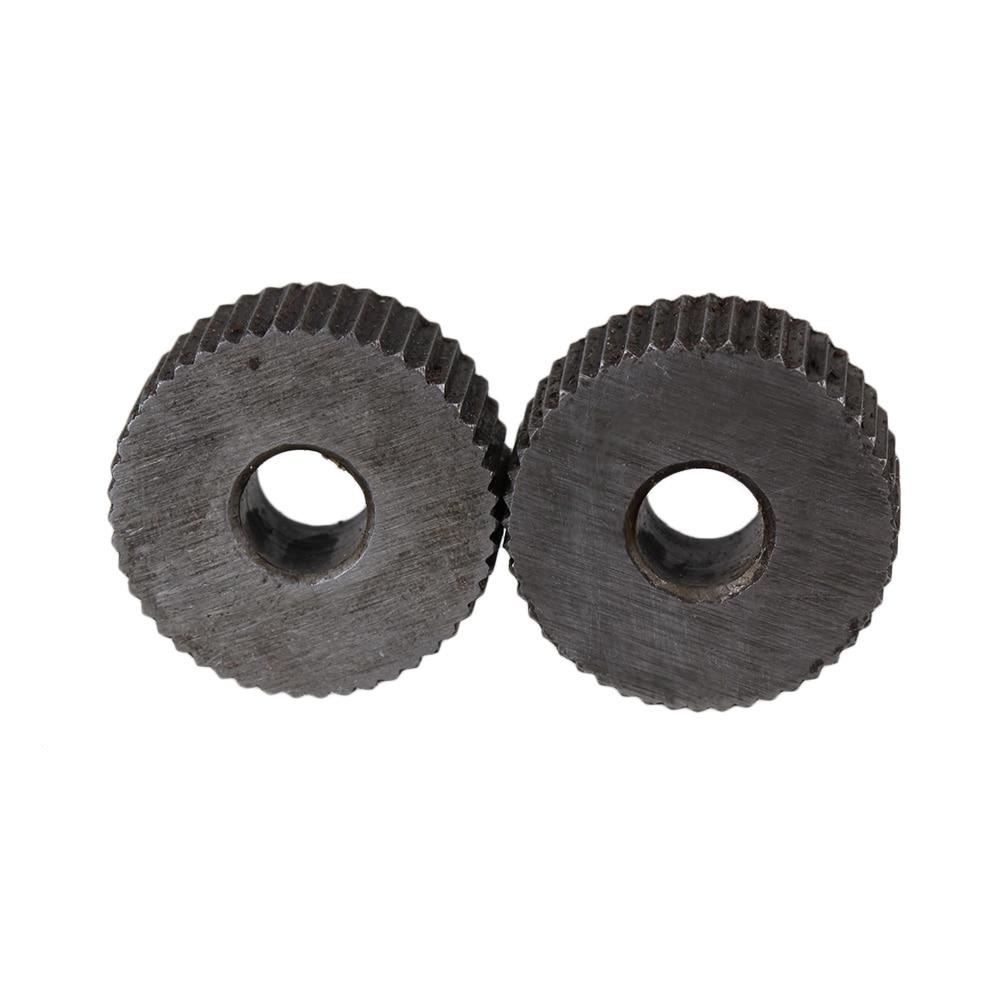 2pcs 1.2mm Pitch Knurling Tool Silver Single Straight Wheel Linear Knurl Wheel
