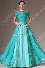 Vintage Style A-linie Chiffon Langes Abendkleid Chiffon Kleider Kurzarm Abendkleid vestido longo