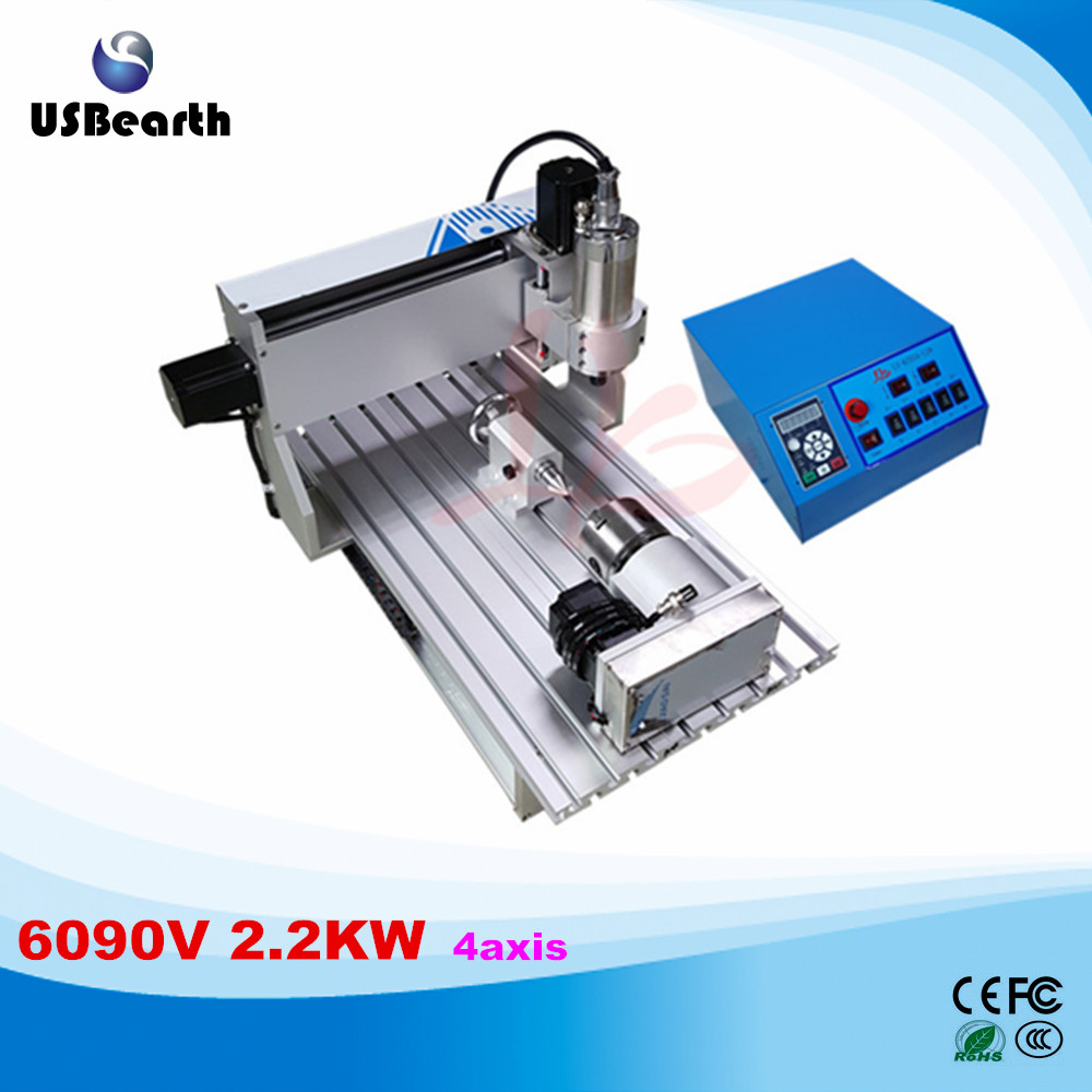 LY CNC 6090V 2.2KW 4 axis mini CNC engraving machine VFD control box mini lathe cnc 4th axis 6090 model