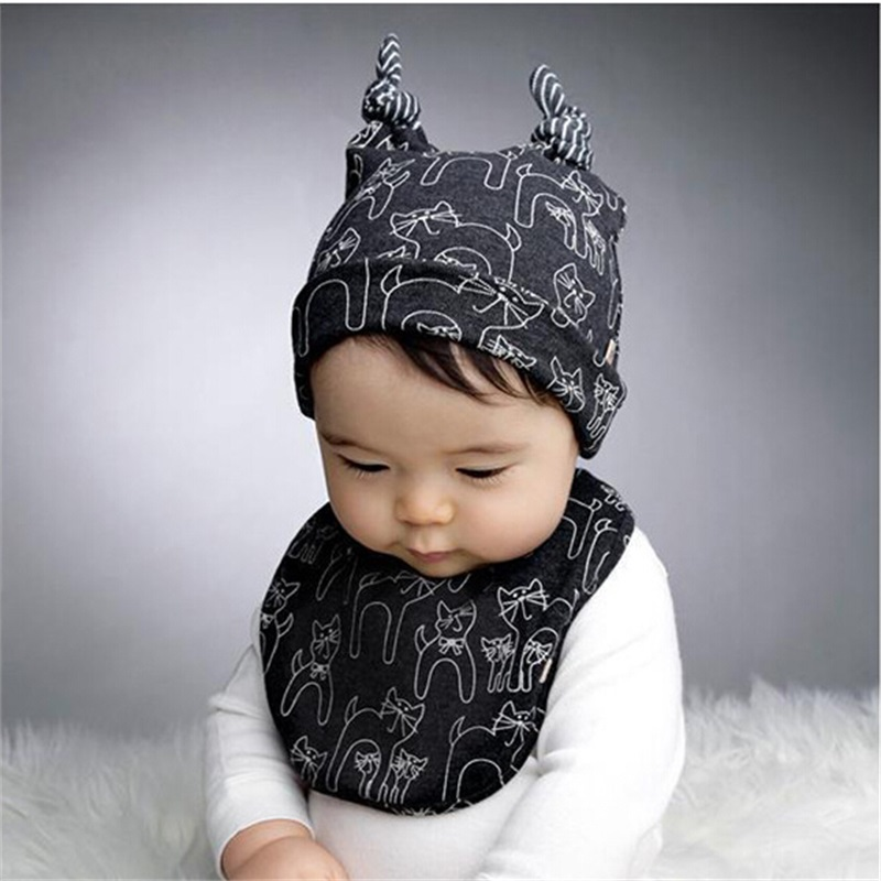 Baby Boy Cotton Hat Cat Warm Baby Beanie Cozy Piece Fitted Kids Hats Lovely  Boy Hat 2ea75eda97d