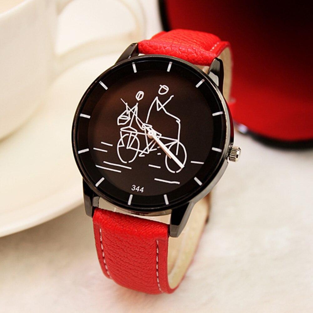 Casual Atmosphere Trend Male Watch Fashion Woman Hot Graffiti Quartz Watch Girls Students Wristwatch Leather Strap