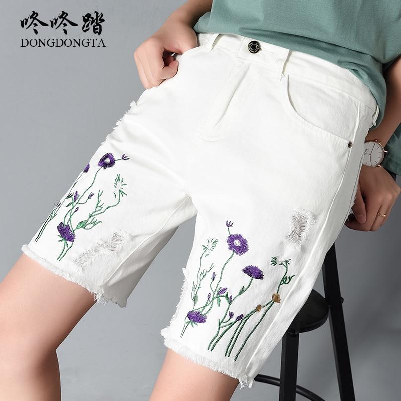 Denim Shorts Women Mid Waist white Short Jeans Female Plus Size 2018 New Fashion Embroidery Tassel Hole Ripped Jeans DONGDONGTA