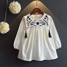 2016 summer clothes Girls Dresses College Wind Embroidery Design Dress for Girls Kids Clothes Princess Party Pageant Dresses