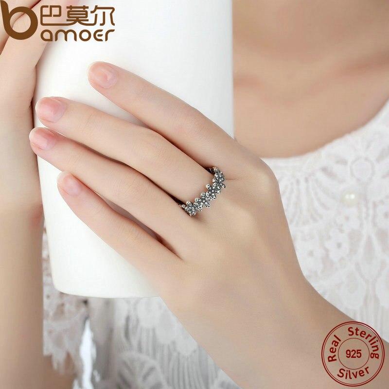 BAMOER 925 Sterling Silver Flowers Finger Rings Dazzling Daisy ...