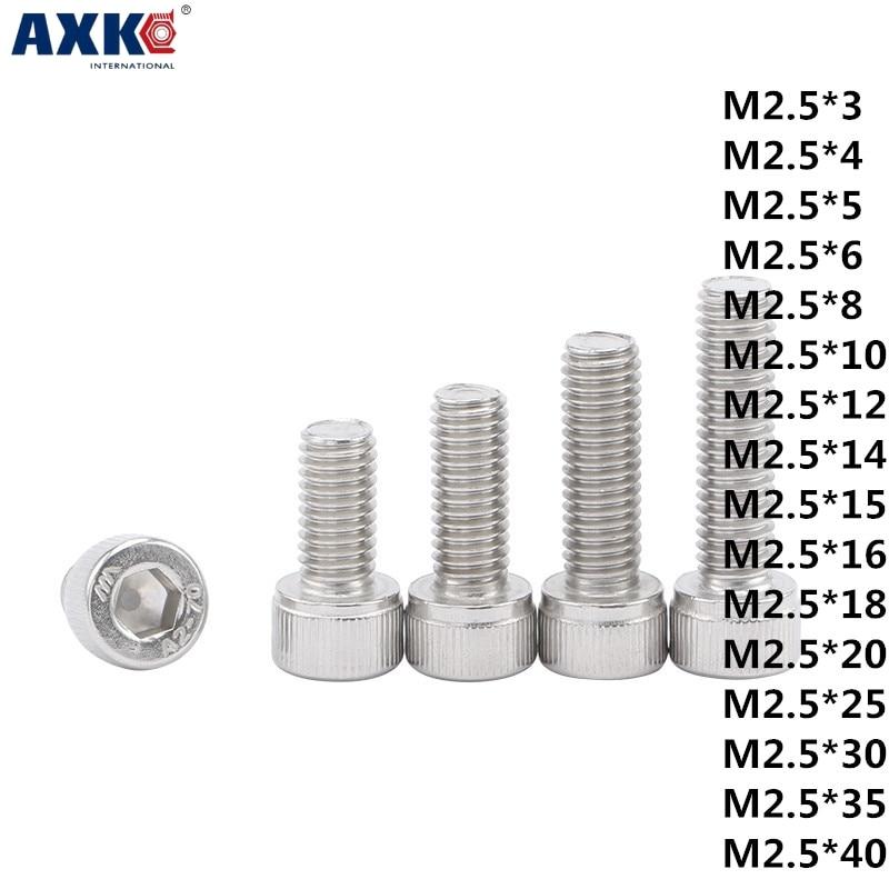 AXK 1pcs 304 stainless steel GB70/DIN912 bolt Cylindrical hexagon socket head cap screw M2.5*3-40mm 5pairs m8 3 pin locking connectors aviation plug socket male