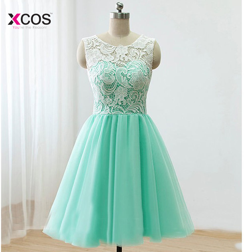 Cute Mint Green Lace Tulle Back Buttons Knee Length Prom ...