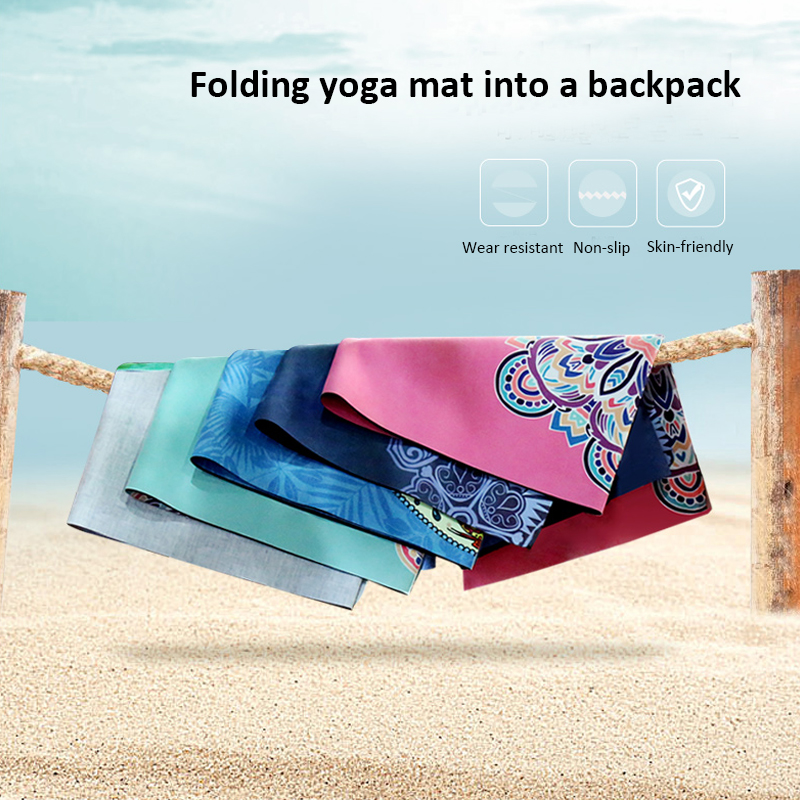 Portable Yoga Mat Printing Ultra-thin Folding Non-slip Cloth Sweat-absorbent Towel Travel Pilates Pad 16