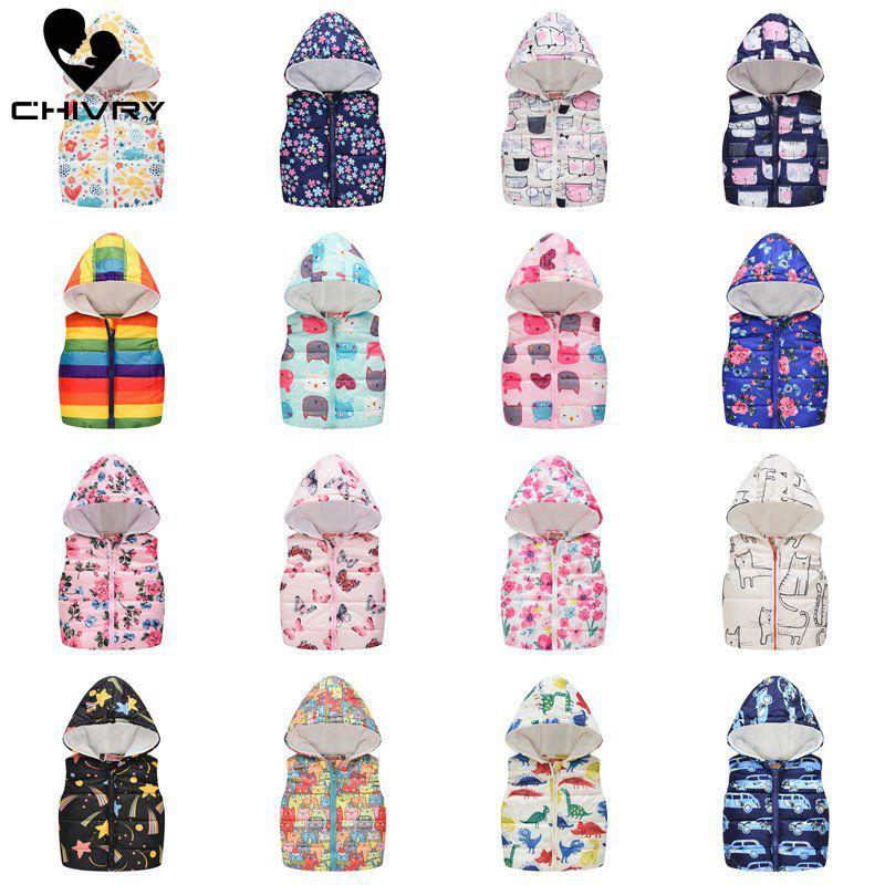 2019 Autumn Winter New Boys Girls Sleeveless Hooded Wool Vest Jacket Cartoon Print Coat Kids Warm Cashmere Vest Outwear Clothes