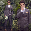 British Retro Style Solid Color Double Breasted  2-piece Set Men's Formal Suit / Wedding Photography Suit  904