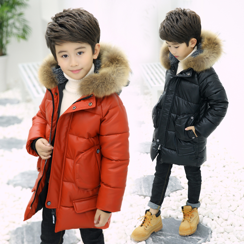 Children's Jacket Boy Pu Leather Coat 2018 New Fashion Patchwork Hooded Winter Long Cotton Outerwear & Coats Fit 3-12T pu leather closure color block hooded coat